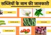 Vegetable Name List Hindi English image